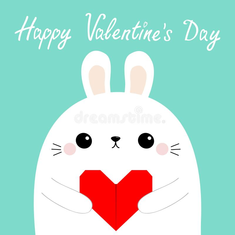 Happy Valentines Day. White rabbit hare puppy head face holding red origami paper heart. Cute cartoon kawaii funny baby animal. Character. Love card. Flat vector illustration