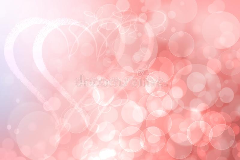Happy Valentines or wedding day. Abstract delicate love romantic holiday gradient pink orange background with a couple of large vector illustration