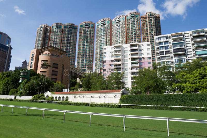Happy Valley Racecourse. Surrounded by residential buildings royalty free stock photo