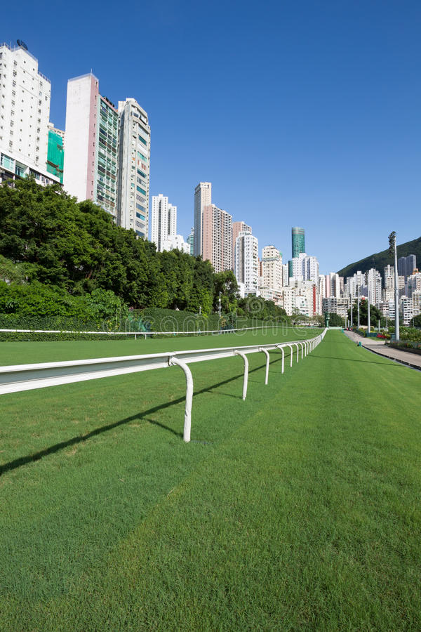 Happy Valley Racecourse. Surrounded by residential buildings stock images