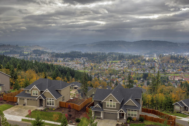 Happy Valley Residential Homes in Fall royalty free stock photography