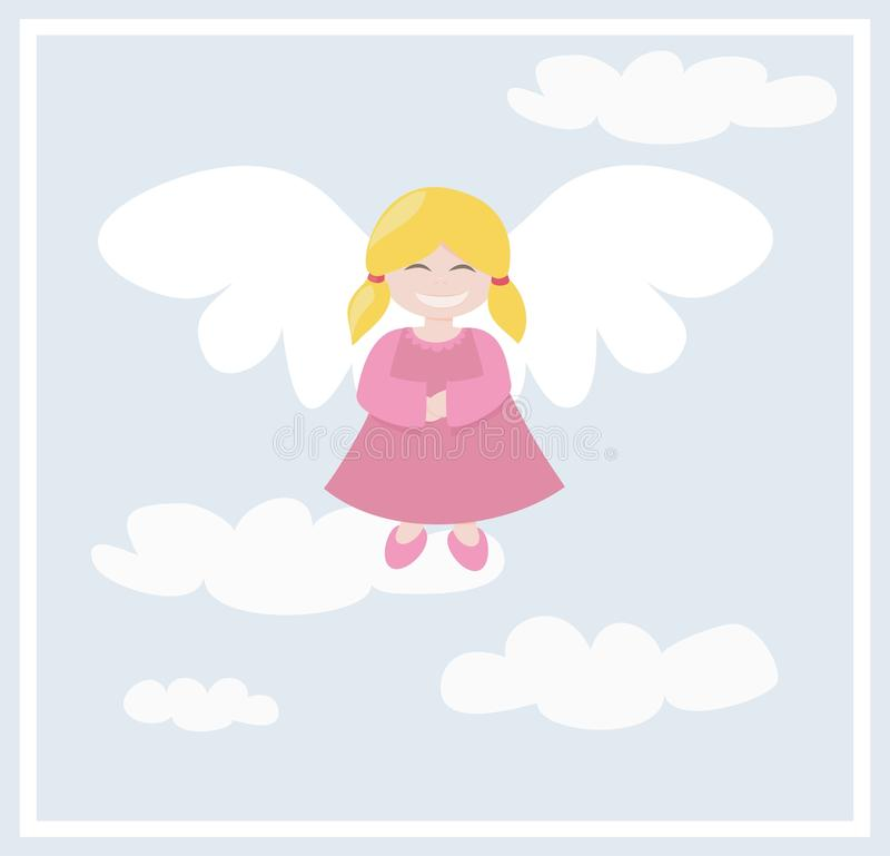 Happy vector angel with clouds flying in the sky stock illustration