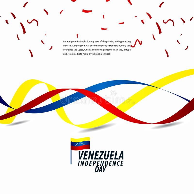 Happy Venezuela Independence Day Celebration, ribbon banner, poster template design illustration. Flag, background, vector, july, venezuelan, holiday, isolated vector illustration