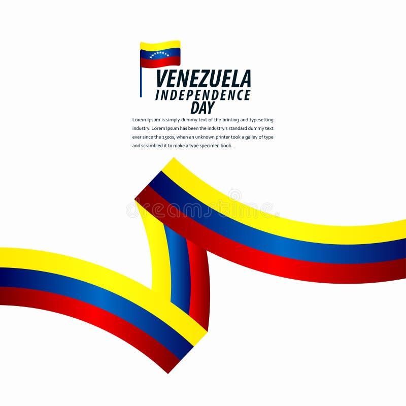 Happy Venezuela Independence Day Celebration, ribbon banner, poster template design illustration. Flag, background, vector, july, venezuelan, holiday, isolated royalty free illustration