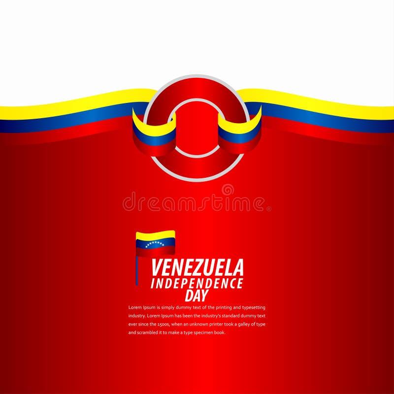 Happy Venezuela Independence Day Celebration, ribbon banner, poster template design illustration. Flag, background, vector, july, venezuelan, holiday, isolated stock illustration