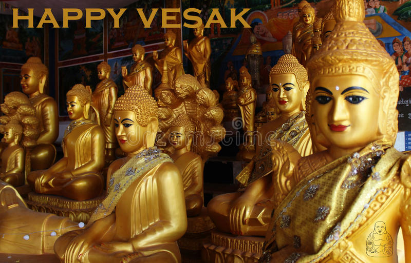 Happy vesak day. With a buddha icon royalty free stock images