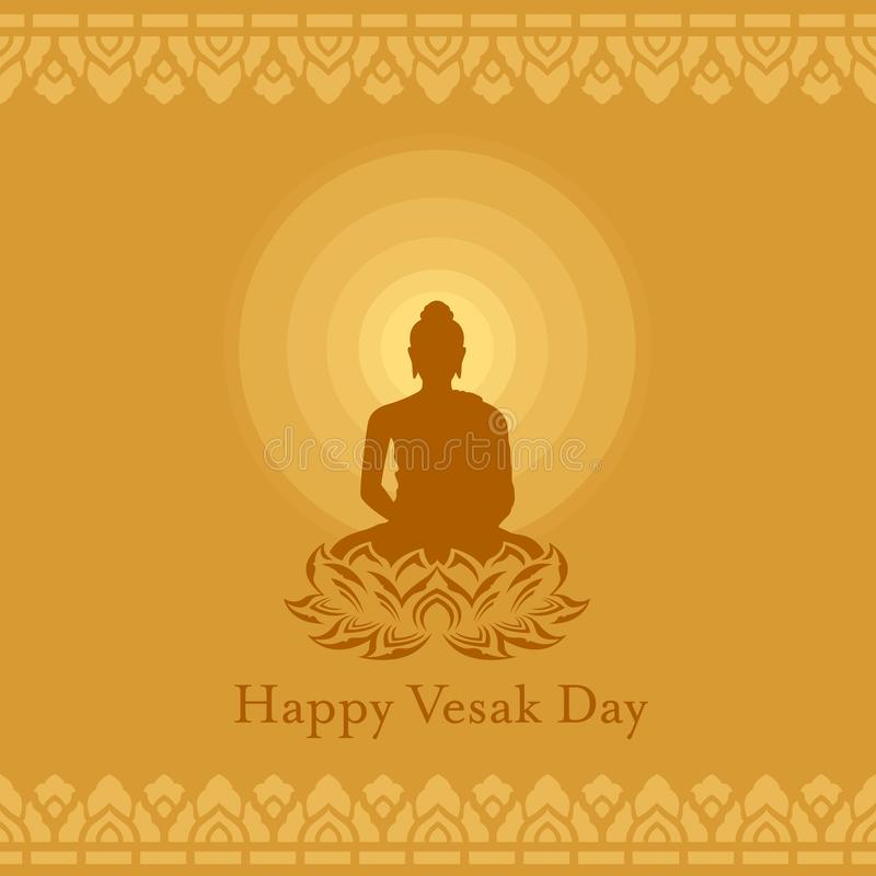 Happy Vesak day with Buddha lotus flower sign and Radius of light on yellow brown background art vector design royalty free illustration