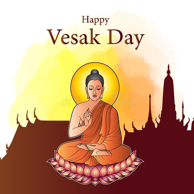 Happy Vesak Day Buddha sit on lotus with silhouette temple and water colour background royalty free illustration