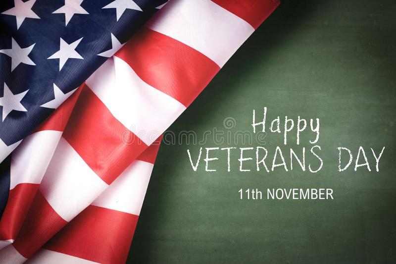 Happy Veterans Day with American flag royalty free stock images