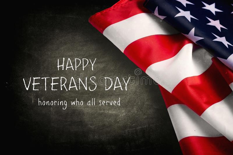 Happy Veterans Day with American flag. Happy Veterans Day with beautiful American flag royalty free stock image