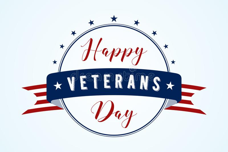Happy Veterans Day - American flag ribbon with lettering Happy Veterans Day royalty free illustration
