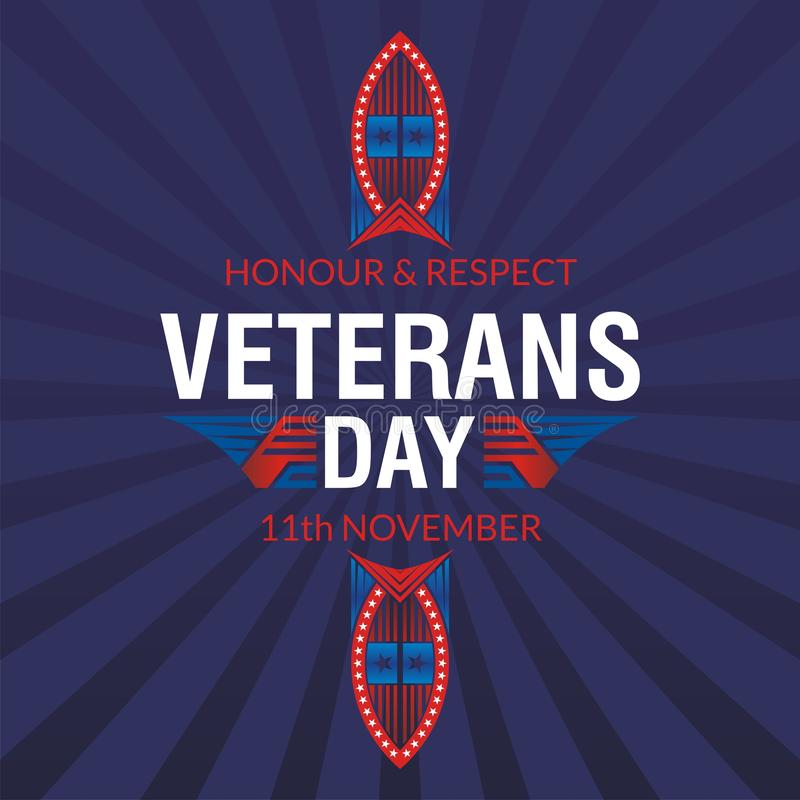 Happy Veterans Day background template design royalty free illustration
