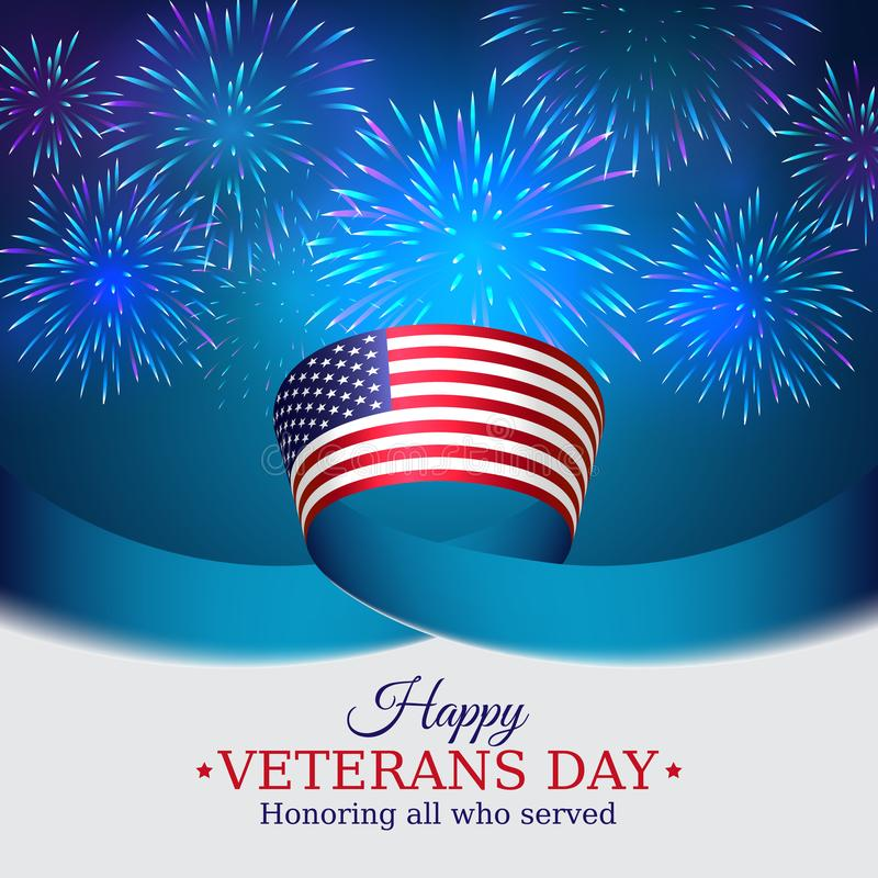 Happy veterans day banner. US national day november 11. American flag on blue sky background with fireworks. Typography design. Poster, vector illustration vector illustration