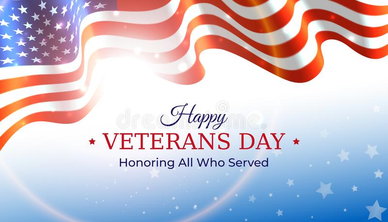 Happy veterans day banner. Waving american flag on blue sky background with stars. US national day november 11. Poster, typography. Design, vector illustration stock illustration