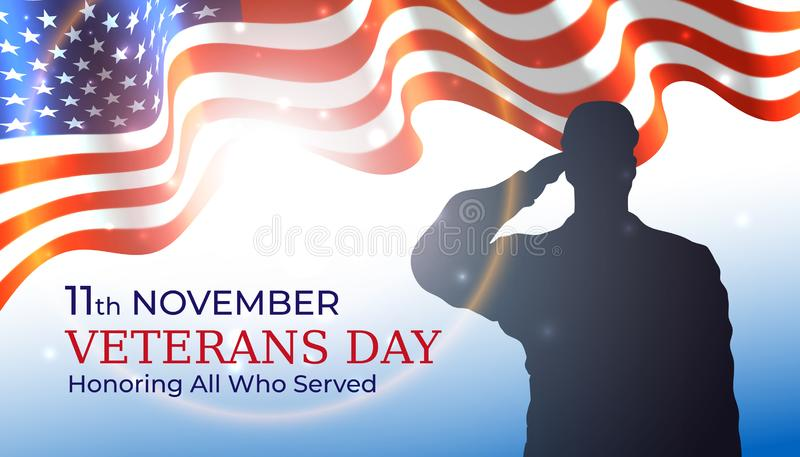 Happy veterans day banner, waving american flag, silhouette of a saluting us army soldier veteran on blue sky background. US. National day november 11. Poster vector illustration