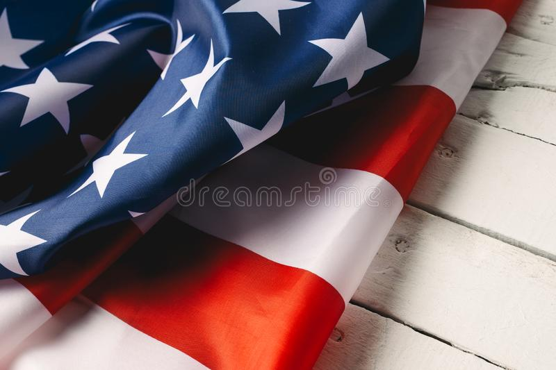 Red, white, and blue American flag for Memorial day or Veteran`s day background royalty free stock photo