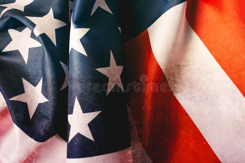 A vintage flag of the United States of America for Veteran`s day royalty free stock image