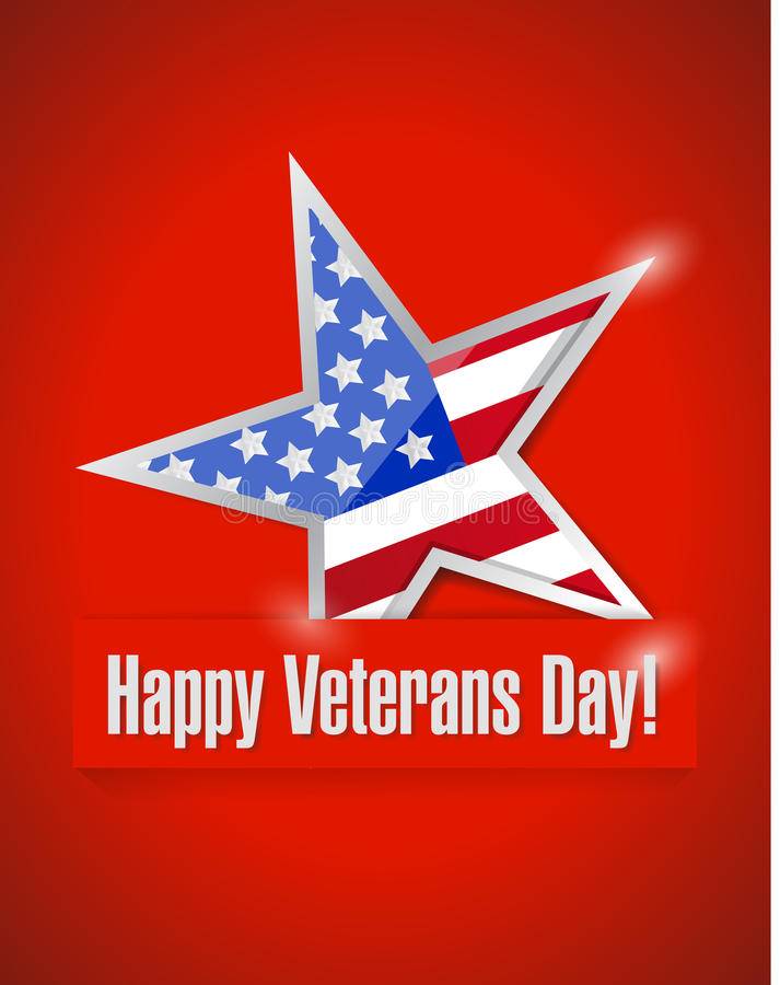 Happy veterans day card illustration. Design over a red background stock illustration
