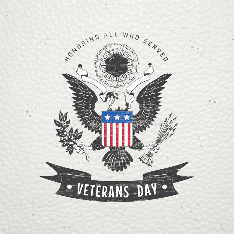 Happy veterans day. Detailed elements. Old retro vintage grunge. Scratched, damaged, dirty effect. Typographic labels, stickers, stock photos