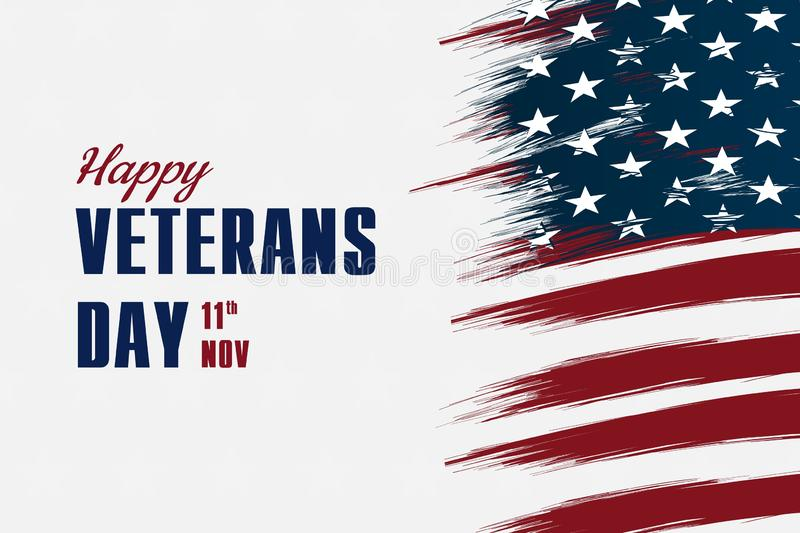 Happy veterans day flag vector illustration design over american flag and a white background royalty free stock photography