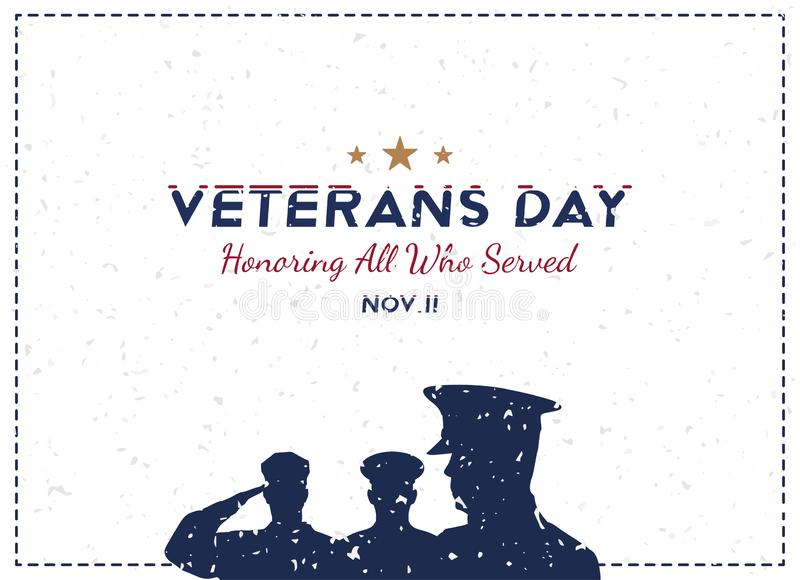 Happy Veterans Day. Greeting card with soldier on background. National American holiday event. Flat vector illustration EPS10 stock illustration
