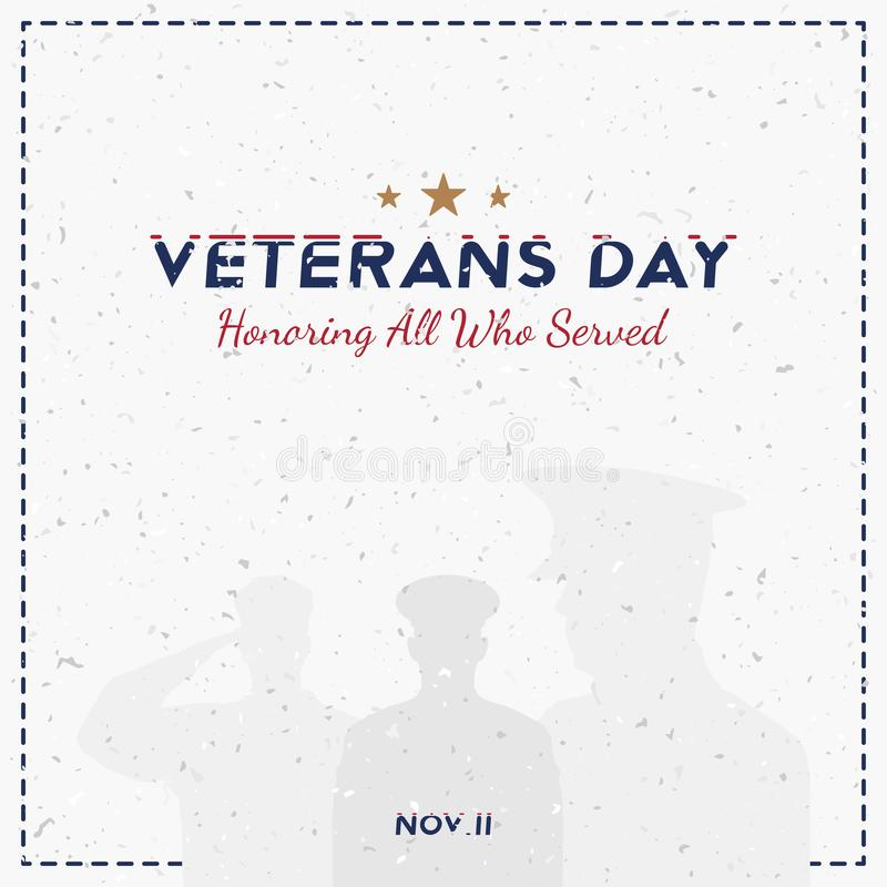 Happy Veterans Day. Greeting card with soldier on background. National American holiday event. Flat vector illustration EPS10 royalty free illustration