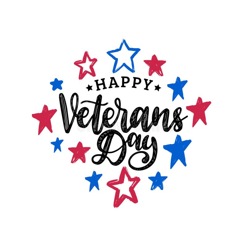 Happy Veterans Day, hand lettering on color stars background. November 11 holiday poster, greeting card in vector. royalty free illustration