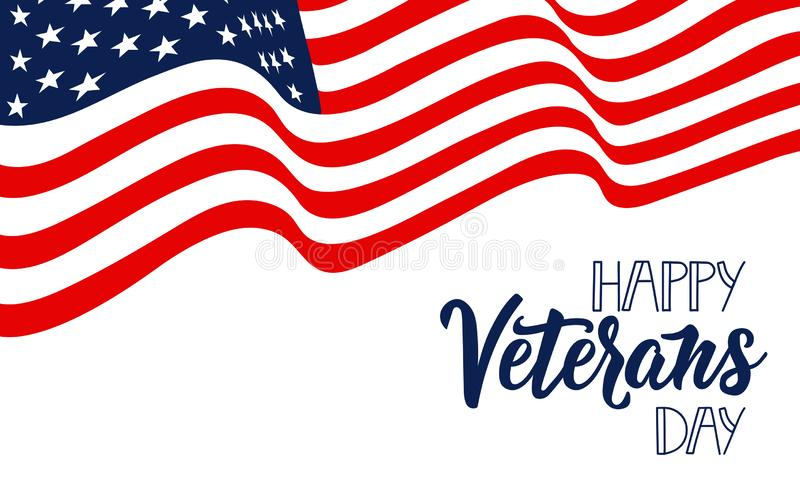 Happy Veterans Day hand lettering. November 11 holiday background. Greeting card. stock illustration