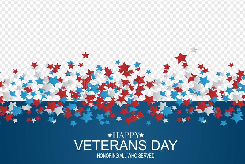 Happy Veterans Day. Honoring all who served. USA flag background. National holiday design concept. Red and blue falling stars. Ove vector illustration