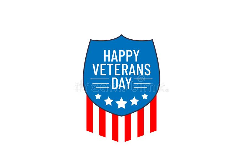 Happy veterans day, icon for 11 November. American patriotic usa flag vector illustration. Blue shield with 5 white stars and reds. Strips royalty free illustration