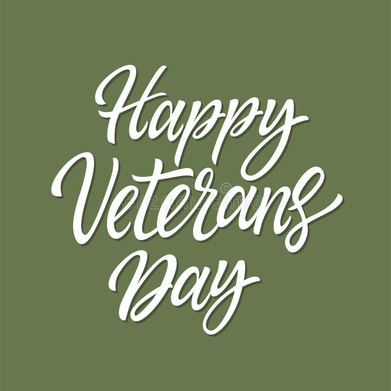 Happy Veterans Day - vector hand drawn brush pen lettering stock illustration