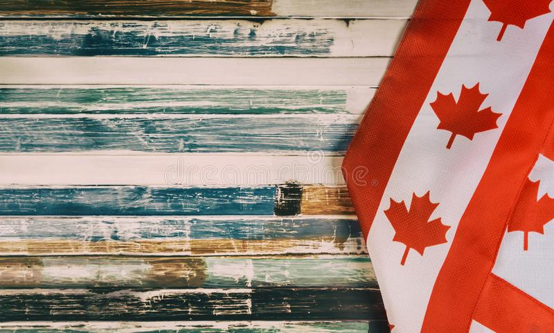 Happy Victoria Day Canadian flags rustic background. Holiday Happy Victoria Day Canadian flags of Canada independence day rustic background, remembrance, civic royalty free stock image