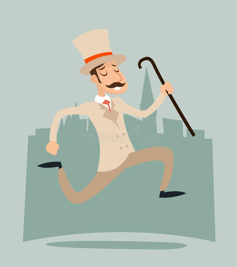 Happy Victorian Running Gentleman Hurry Wealthy Cartoon Businessman Character Icon on Stylish English City Background. Happy Victorian Running Gentleman Hurry vector illustration