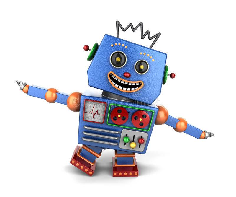 Happy vintage toy robot playing airplane royalty free illustration