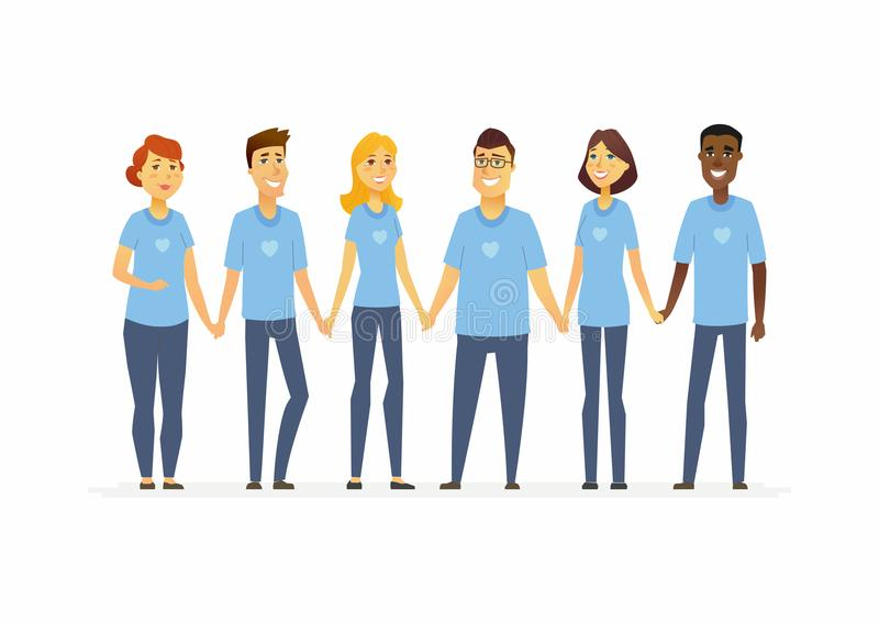 Happy volunteers holding hands - cartoon people characters isolated illustration stock illustration