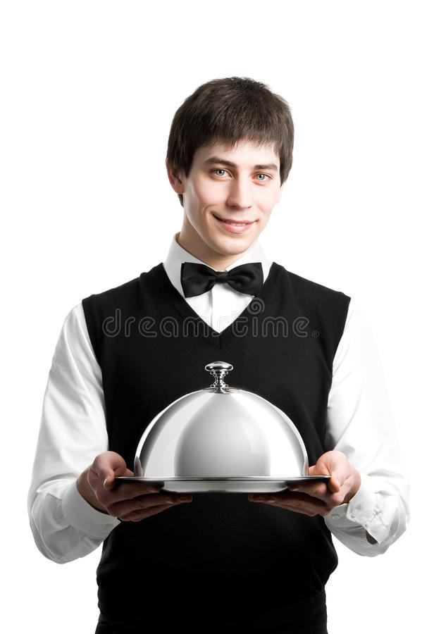 Happy waiter with cloche lid cover stock images