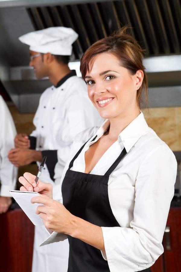 Happy waitress royalty free stock photography