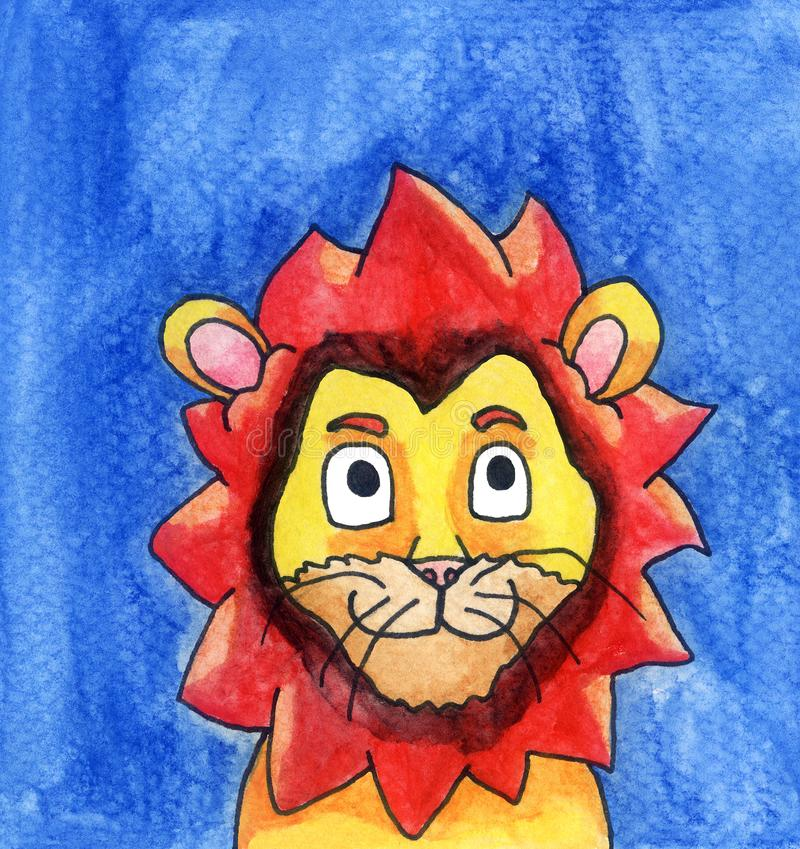 Happy Watercolor Lion stock illustration
