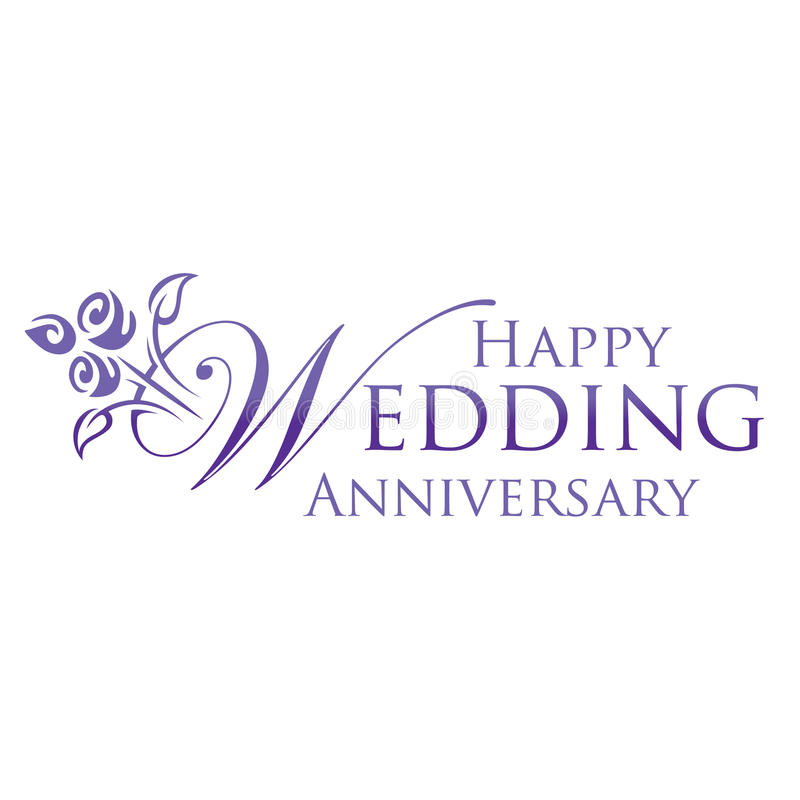 Happy Wedding Anniversary. Wedding Anniversary Greeting in Purple and Logo Iconic style stock illustration