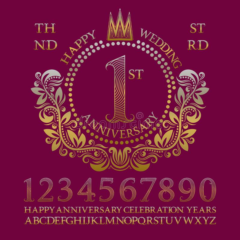Happy wedding anniversary sign kit. Golden numbers, alphabet, frame and some words for creating celebration emblems vector illustration