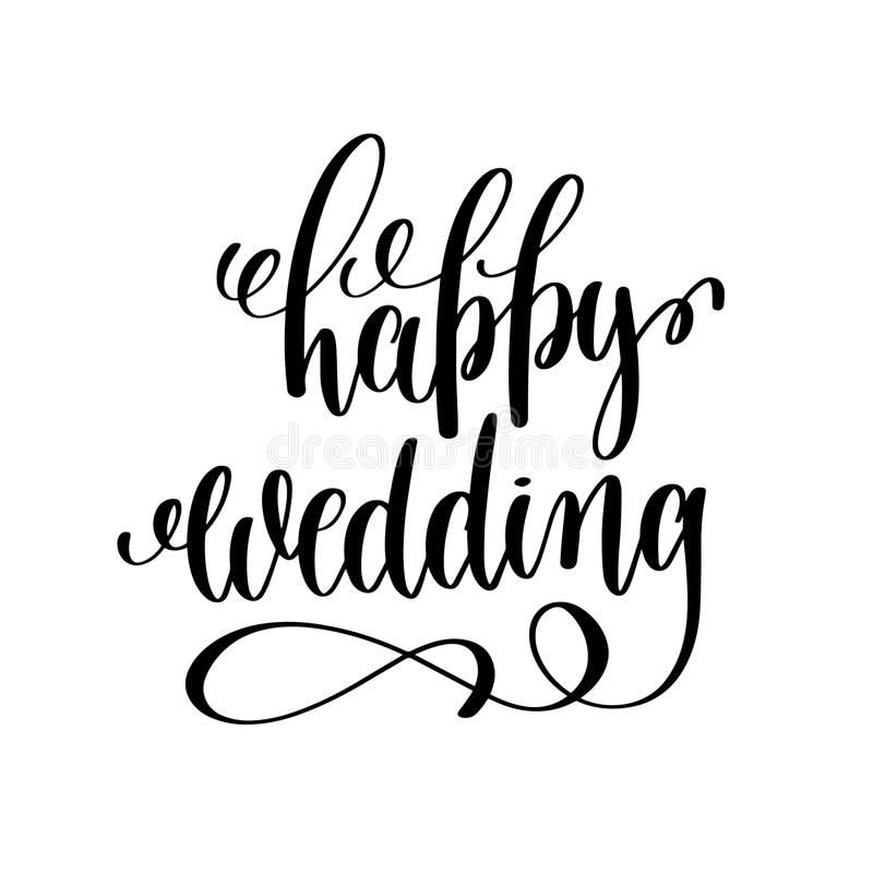 Happy Wedding Black And White Hand Ink Lettering Stock