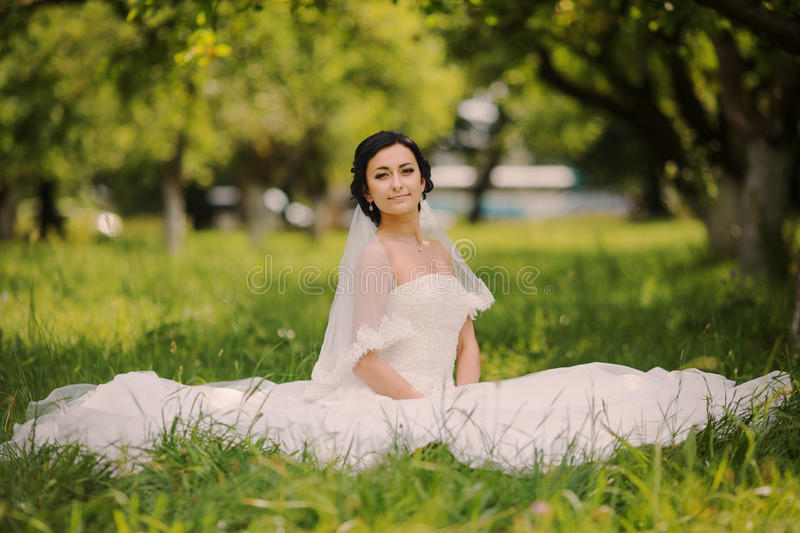 Happy wedding bride on nature royalty free stock image
