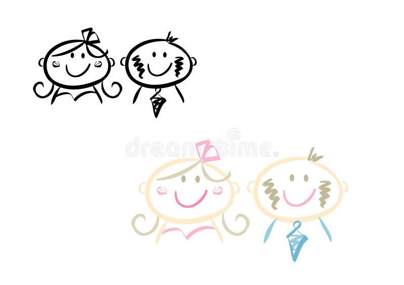 Happy wedding couple royalty free illustration