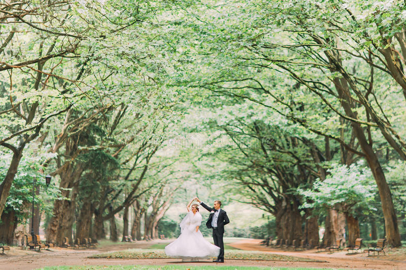 Happy wedding couple charming groom and blonde bride dancing in park at sunny day stock photo