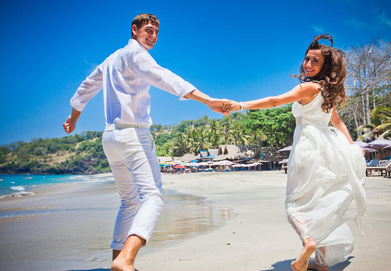 Happy wedding couple just married royalty free stock photos