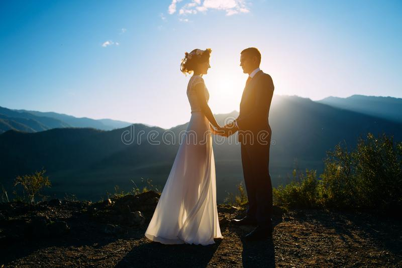 Happy wedding couple staying over the beautiful landscape with mountains stock photography