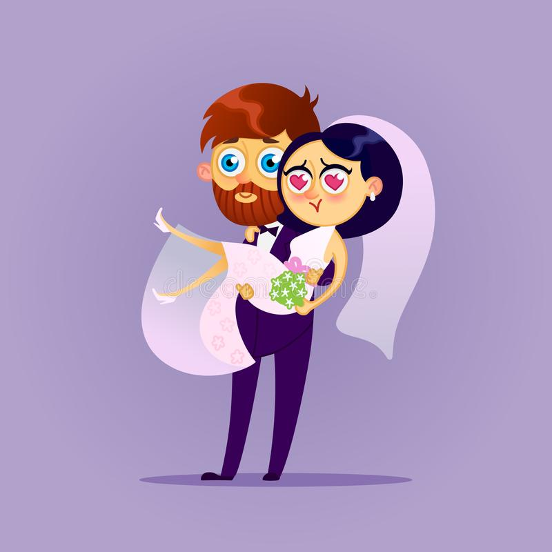 Happy wedding couple. Vector flat illustration.Bride and groom kissing.Romantic happy young lovers dating.Married design.Vectors modern character Valentine s stock illustration