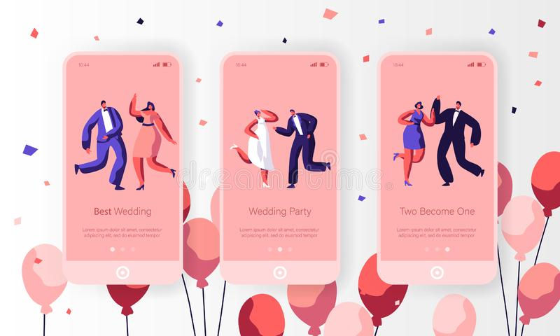 Happy Wedding Dancing Character Mobile App Page Onboard Screen Set. Fun Married Couple Celebrate Holiday Event royalty free illustration