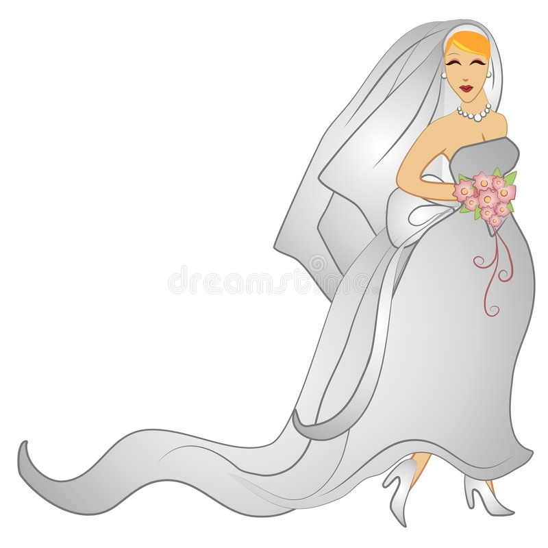 Happy Wedding Day Bridal Gown. A clip art illustration of a beautiful caucasian bride with blonde hair in her gown with veil, bouquet and a smile on her face royalty free illustration