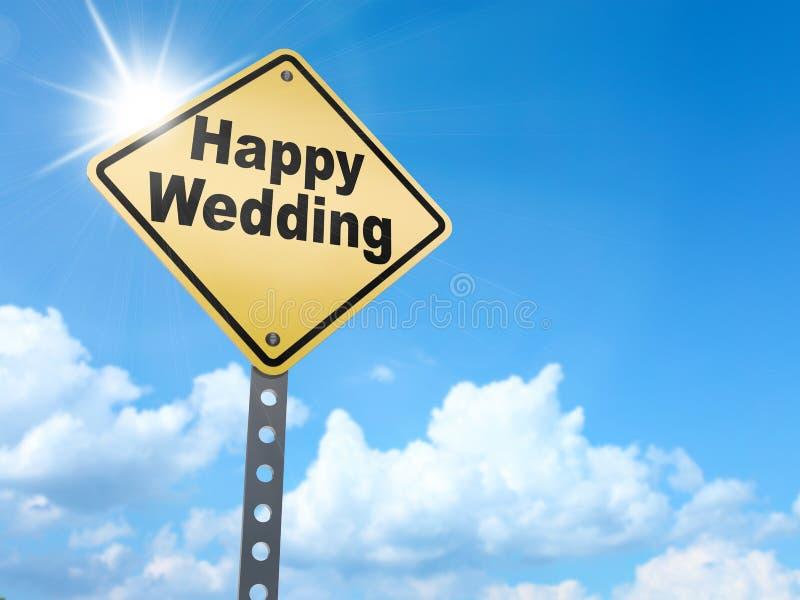 Happy wedding sign stock illustration